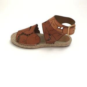 Chloe Tooled Leather Flat Espadrille